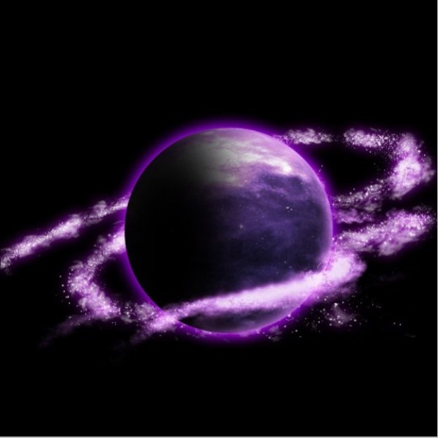 purple planet hd arounded with star ribbon