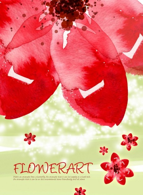 red flower watercolor art pattern with earth background layered