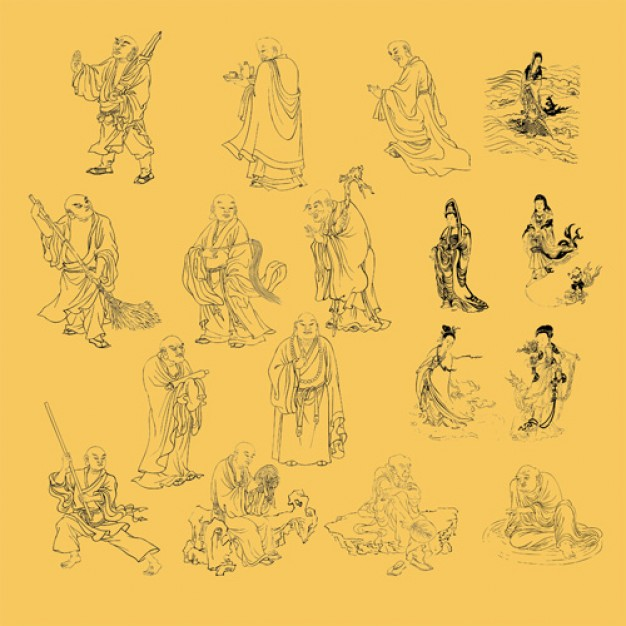 religious line drawing material with Mercy Kuan Yin