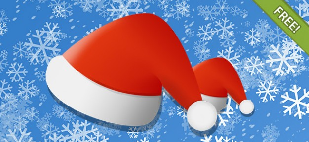 santa hat over snowflakes background