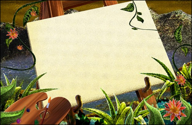 sketchpad with the green rattan plants etc elements