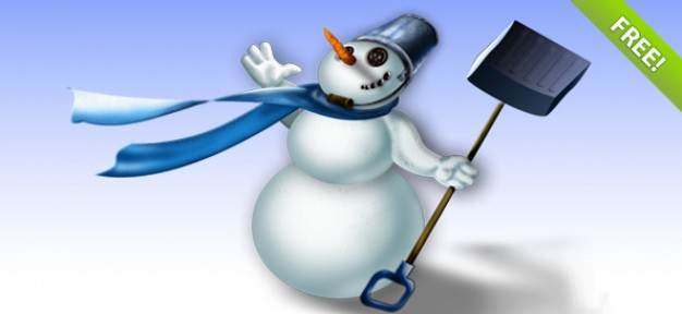 snowman with neckcloth and hanging with a shovel illustration