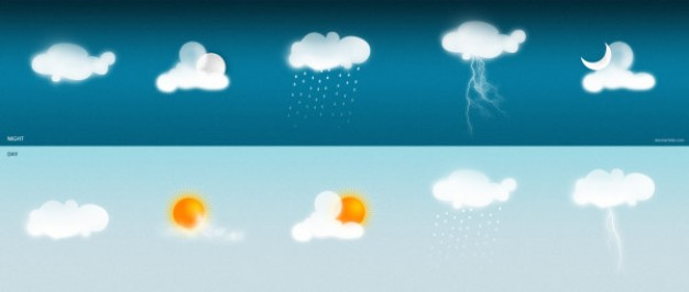 soft weather icon with Sun Cloud Moon Rain Night Dream
