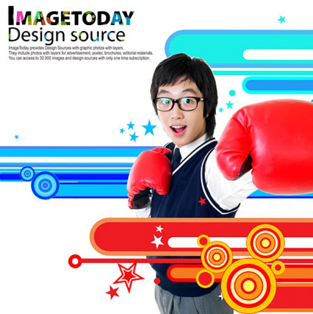 south korea trend of dynamic with boy with boxing glove
