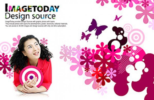 south korea trend of dynamic with pink flower and butterfly