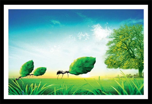 synthetic landscape layered material with grassland tree blue sky