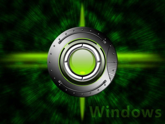 the windows desktop wallpaper with circle and green background