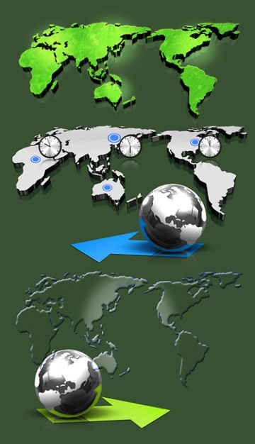 three dimensional map of the world layered material with green land