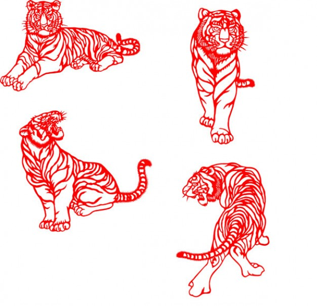 tiger of paper cut material in Chinese style