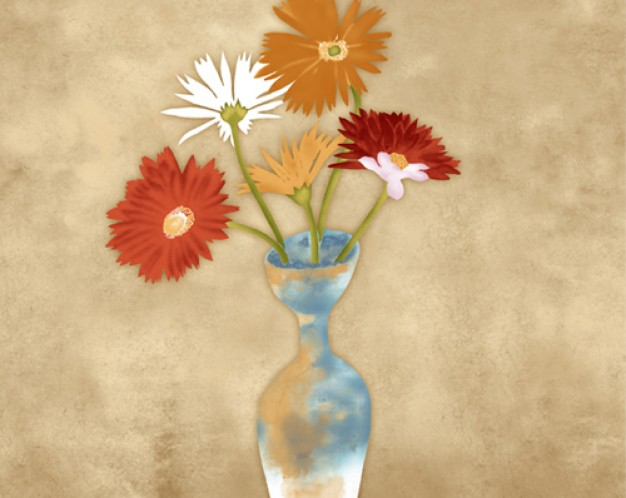 vase layered with colorful flowers painted by hand