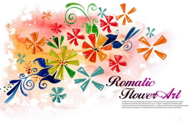 watercolor pattern with flower art