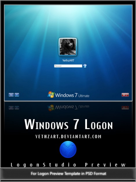 windows style login screen layered template with underwater
