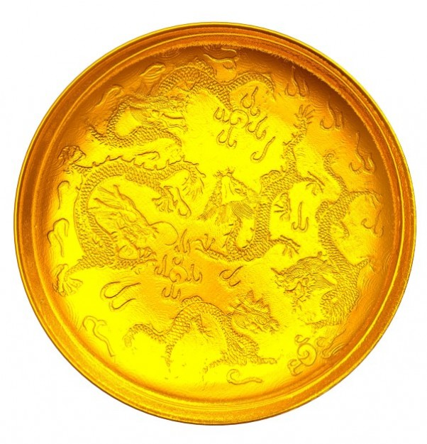 yellow golden plate with dragon grains