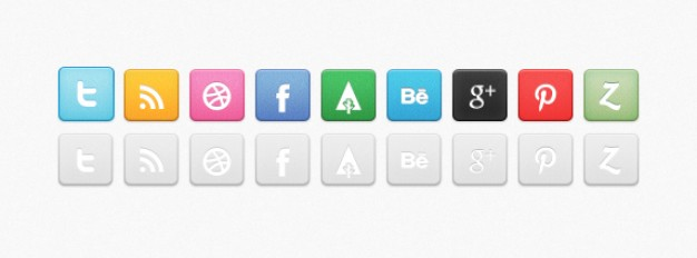 revised social media icon set
