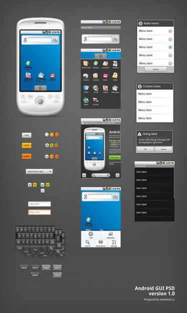 android phone the gui layered material over dark gray background