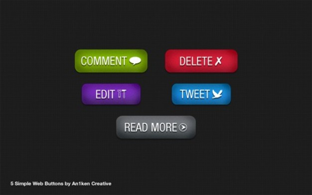 attractive colorful web ui buttons set with dark background