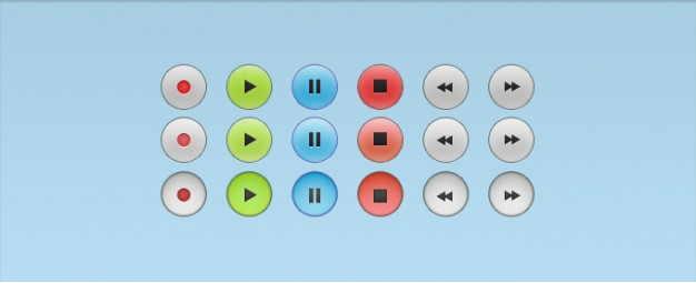 audio control buttons with all states over light blue background