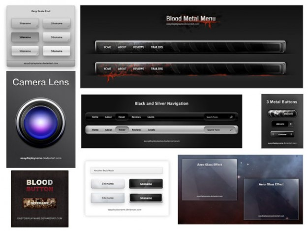 beautiful blood metal menu web design elements layered material