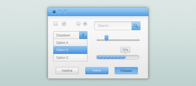 blue and white gui kit with button dropdown search form
