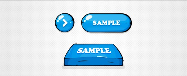 blue buttons illustration with triangle circle square figure