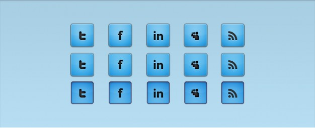 blue social media icons with blue background