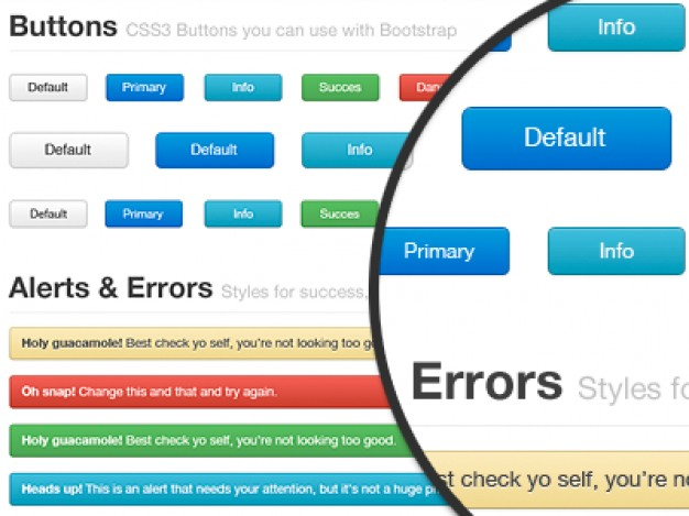 bootstrap freebie for webdesign including button alert error bar