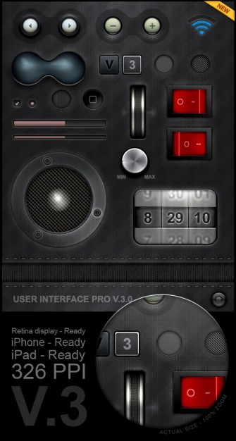 cool playback interface material in metal style
