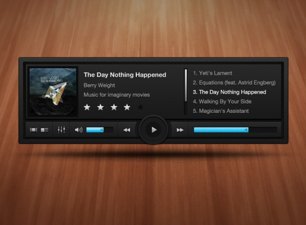 dark complex music player UI with wood background