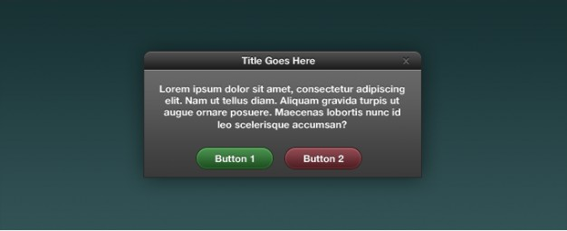 dialog box interface with dark title and grey content background