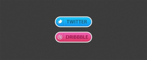 dribbble buttons with textured twitter