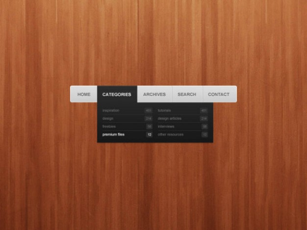 drop down navigation menu layered material over wood background