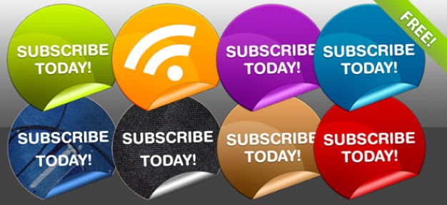 eight rss subscribe badges with beautiful color style