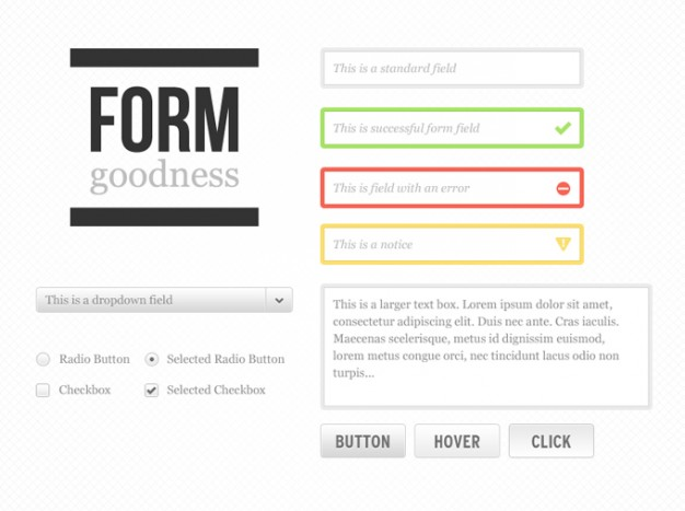 form goodness kit with form button radio etc elements