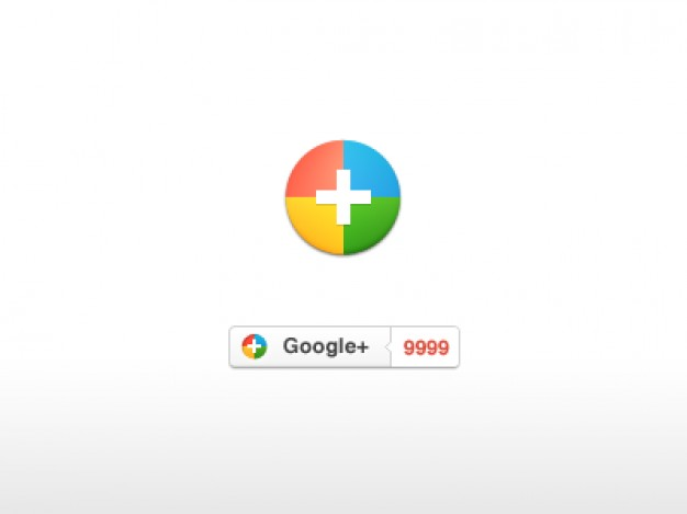 google plus icon design made of yellow green blue pink cirle