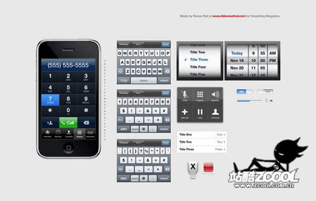 iphone gui fine layered material for iphone input method interface
