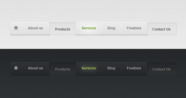 light and dark navigation web menu in black and white style