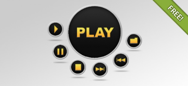 media player buttons set with yellow sign