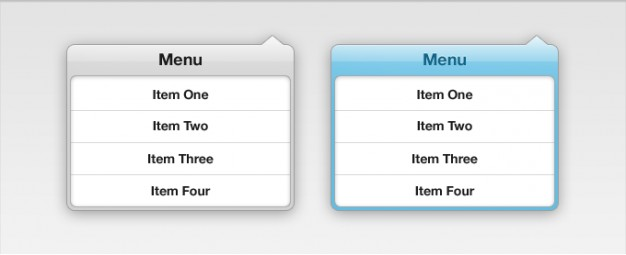 menu drop down interface with two style by green and blue
