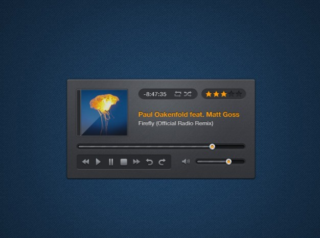 music player interface design with dark blue background
