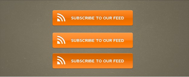 orange rss subscribe buttons in orange over brown background