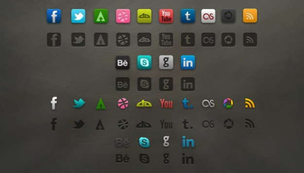 refined social icons layered material in different color for status
