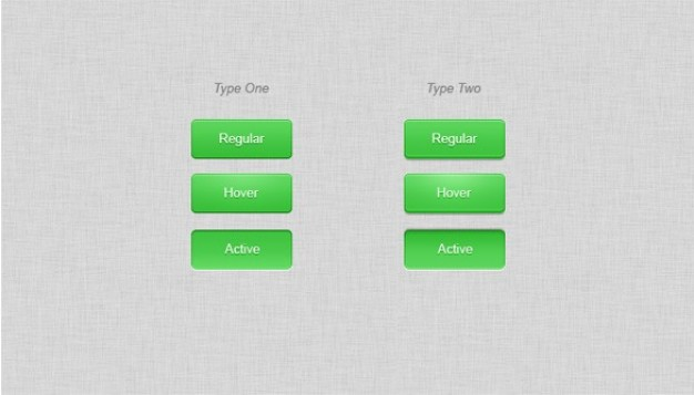 shiny green buttons with hover active states