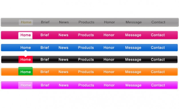 six simple navigation menu style layered material in different color style