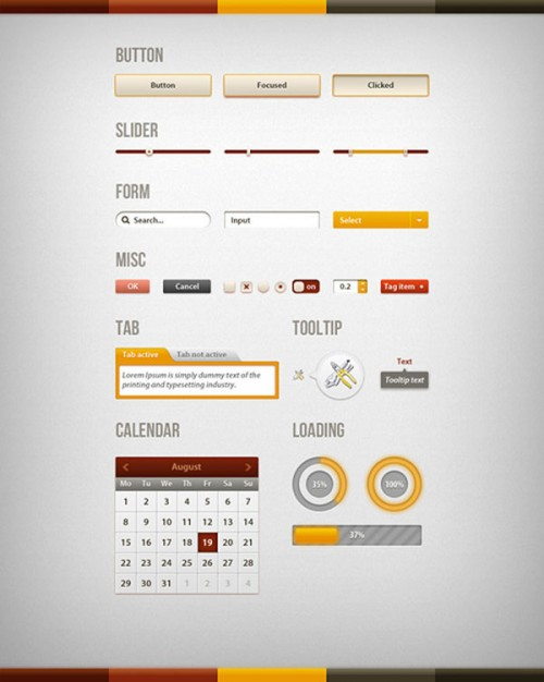 sophisticated page elements layered material with Calendar bar box button