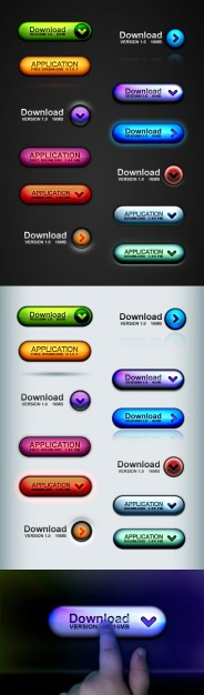 three dimensional button icons with download application sign material