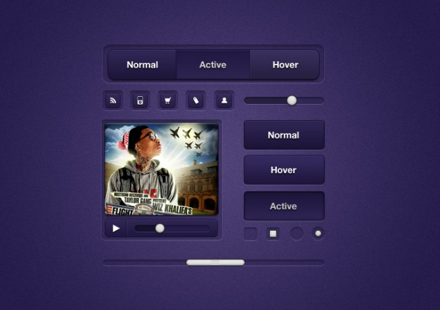 ui elements with different status in purple
