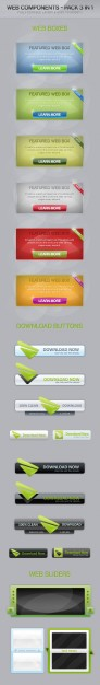 web button design layered material set