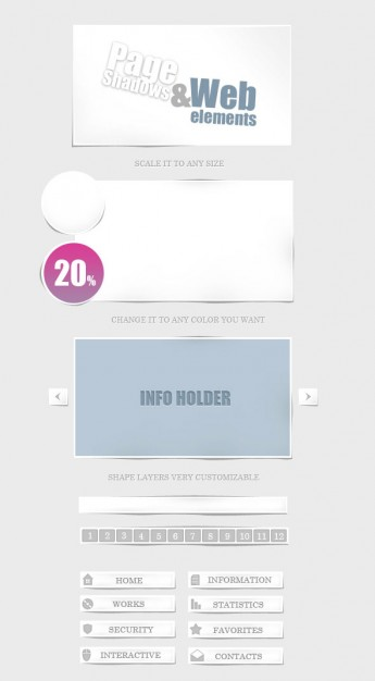 web design elements material with home information etc button