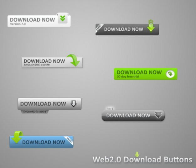 web page button material with download now sign