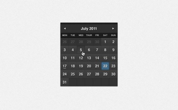 dark formal month calendar widget